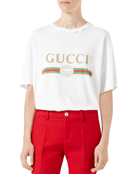 Gucci Gucci-Print Cotton Tee, White