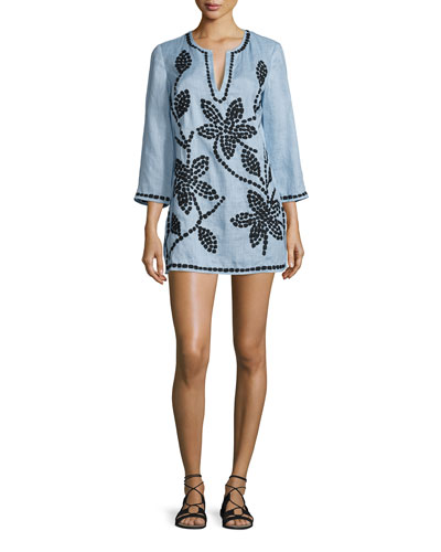 3/4-Sleeve Embroidered Tunic, Blue Lupine