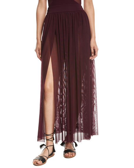Aspire Layered Mesh Maxi Coverup Skirt, Purple