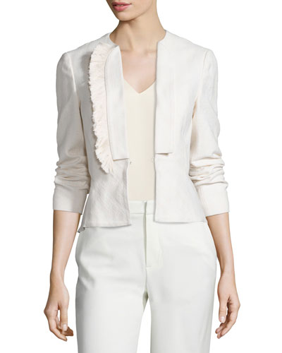 Stretch Fringe-Trim Peplum Blazer, Soft White