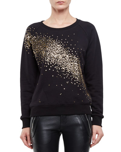 Sequin-Dusted Cotton Sweatshirt, Black