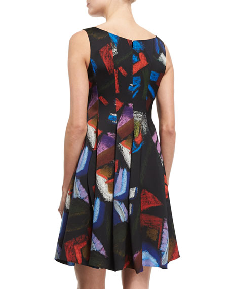 Sleeveless Printed Envers Fit-&-Flare Dress