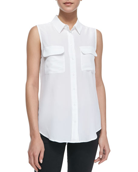 Equipment Slim Signature Sleeveless Blouse, Bright White
