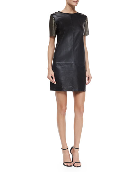 Nicole Miller Short-Sleeve Leather Sheath Dress, Black