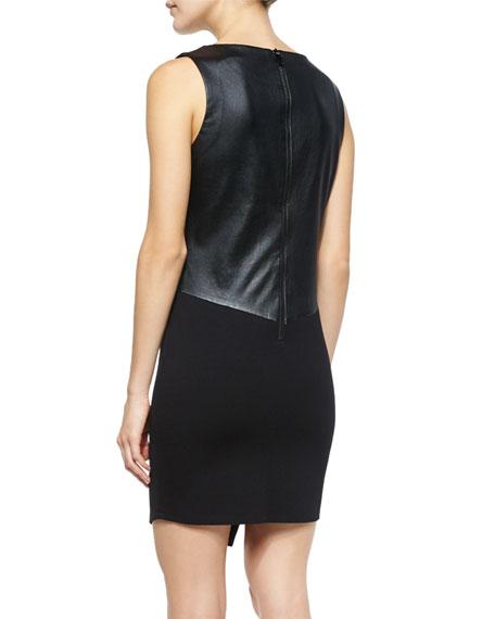 Sleeveless Ponte Dress w/Slit, Black
