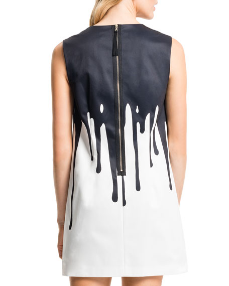 Drip-Paint Shift Dress, Lily White