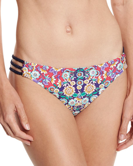 Desert Diamond Charmer Strappy-Side Swim Bottom, Multi