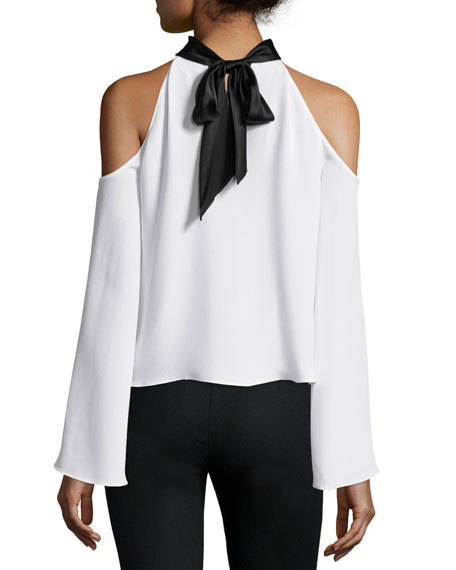 Serena Cold-Shoulder Tie-Neck Top
