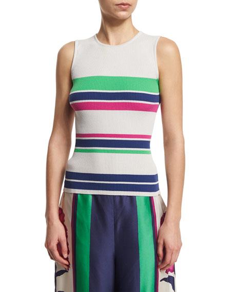 Tanya Taylor Designs Eli Striped Stretch Tank, Putty/Multicolor