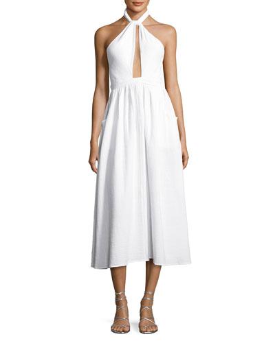 Halter-Neck Coverup Midi Dress