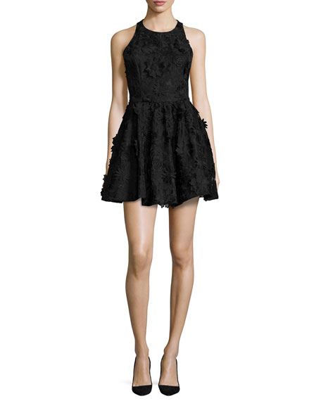 Alice + Olivia Tevin Racerback Party Dress, Black