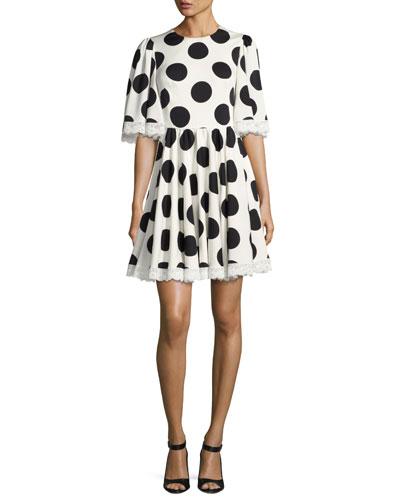 Half-Sleeve Lace-Trim Polka-Dot Dress, White/Black