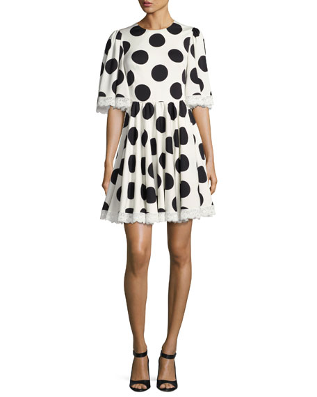 Dolce & Gabbana Half-Sleeve Lace-Trim Polka-Dot Dress,