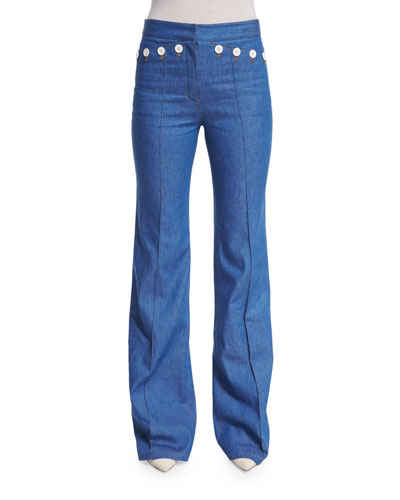 High-Waist Flare-Leg Denim Pants, Bright Blue