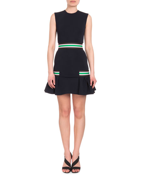 Christopher Kane Stretch-Stripe Flounce Hem Dress