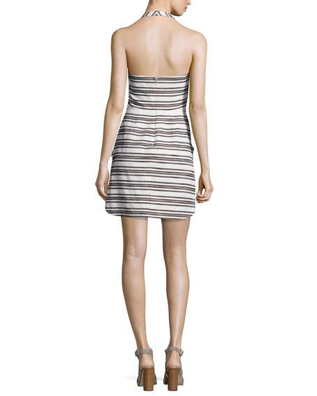 Hudson Striped Halter Dress, Ivory/Black