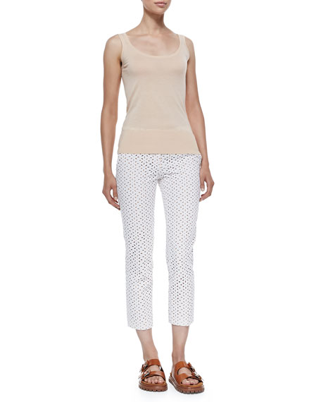 Samantha Cropped Eyelet Pants, Optic White