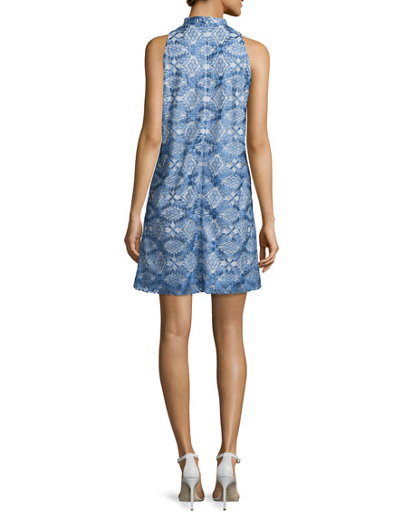 Sleeveless Printed Cocktail Dress, Blue