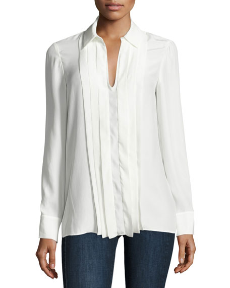 Pleated Split-Neck Silk Blouse, Blanc