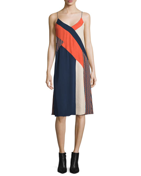Diane von Furstenberg Frederica Sleeveless Colorblock Slip Dress,