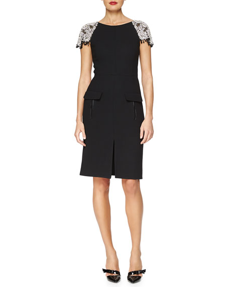 Oscar de la Renta Floral Crystal-Embroidered Stretch-Wool Dress