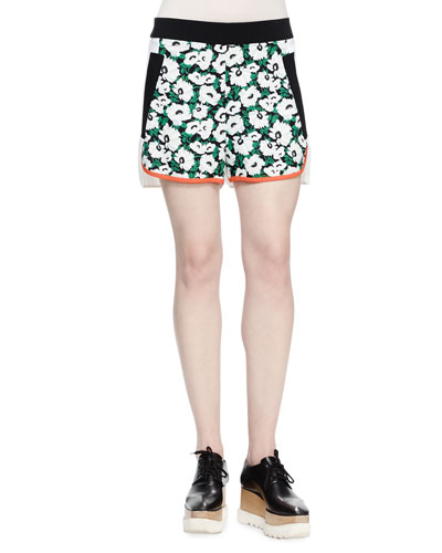 Kristele Floral-Print Shorts, Black