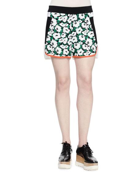 Stella McCartney Kristele Floral-Print Shorts, Black