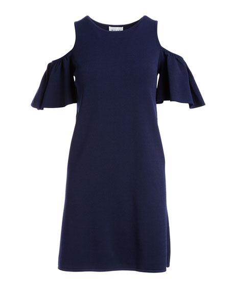 Flutter-Sleeve Shift Dress, Navy