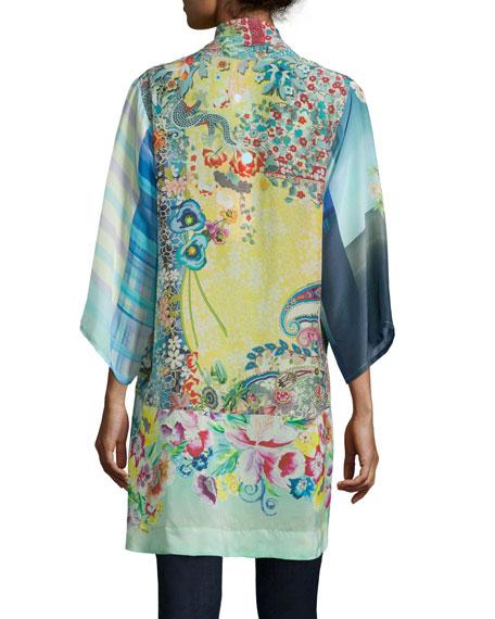 Mixed-Print Tie-Front Silk Kimono, Plus Size