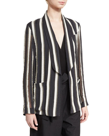 Brunello Cucinelli Monili Striped Shawl-Collar Jacket, Multi