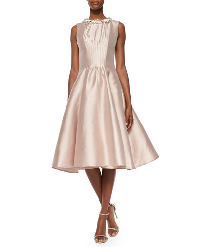 Alexis Jewel-Neck Fit-and-Flare Dress