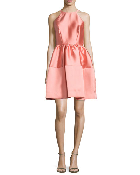 Erin Fetherston Sleeveless Satin A-Line Dress, Coral