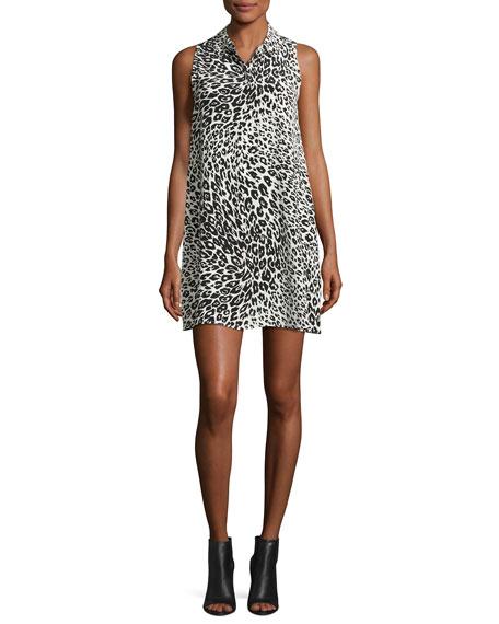 Equipment Mina Sleeveless Cheetah-Print Silk Shirtdress, Nature
