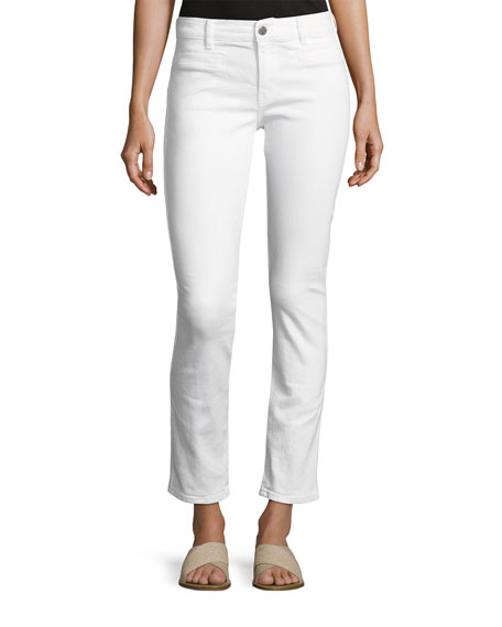 Paris Stagger-Hem Skinny Jeans, White