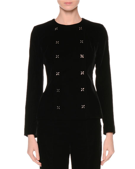 Giorgio Armani Double-Breasted Cross-Stitch Jacket, Black