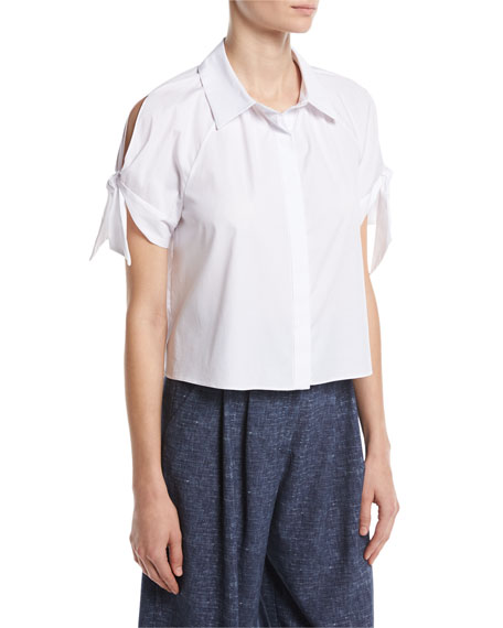 Milly Short Tie-Sleeve Stretch-Poplin Boxy Top, White