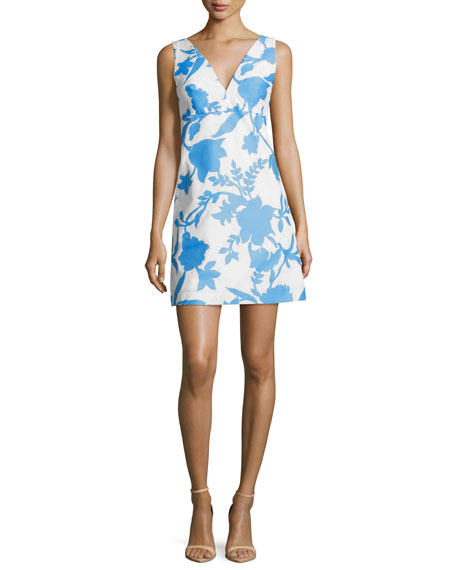 Milly Sleeveless Floral-Jacquard Minidress, Bright Blue