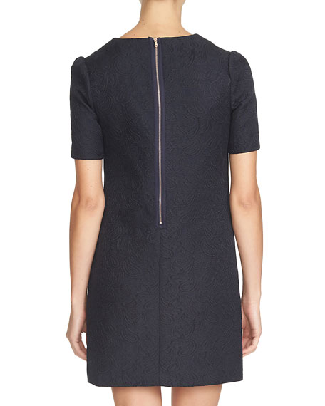 Short-Sleeve V-Neck Sheath Dress, Caviar
