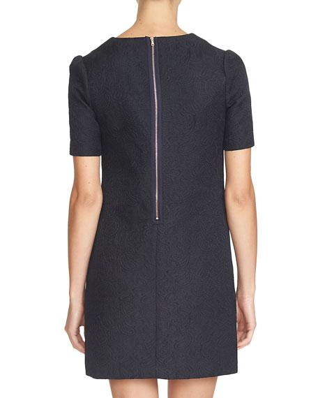 Short-Sleeve V-Neck Sheath Dress, Caviar