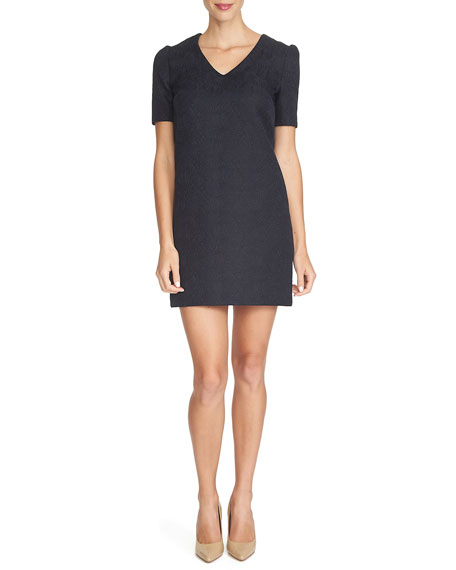 Cynthia Steffe Short-Sleeve V-Neck Sheath Dress, Caviar