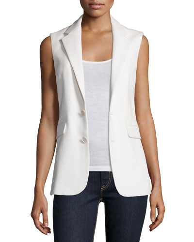 Button-Front Vest, Cream