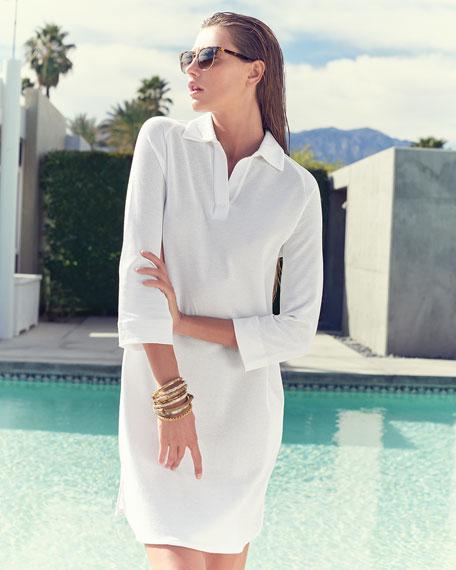 3/4-Sleeve Shirttail Pique Dress, Plus Size