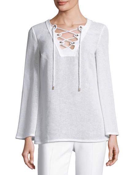 Grommet Lace-Up Linen Tunic