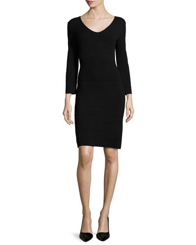 Scoop-Neck Bandage Dress, Black