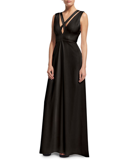 Jill Jill Stuart Sleeveless Crisscross A-Line Gown, Black