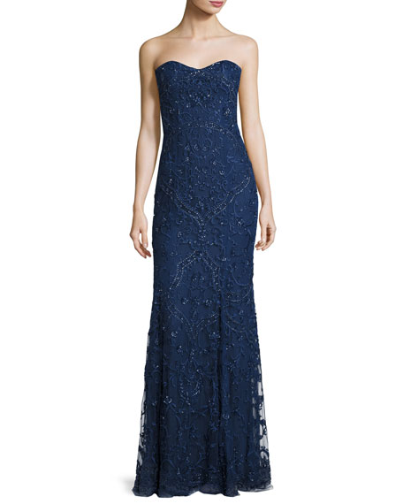 Monique Lhuillier Strapless Sequined Mermaid Gown, Navy