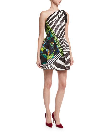 Marc Jacobs Zebra & Parrot One-Shoulder Dress, Black/Parchment
