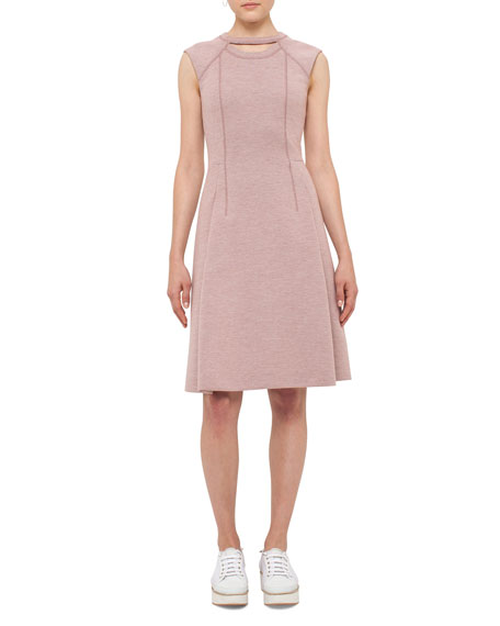 Akris punto Keyhole Sleeveless A-Line Dress