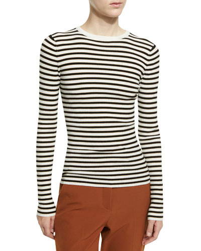 Harmon Ribbed Striped Wool-Blend Sweater, White/Black