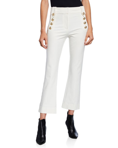 Cropped Flare Trousers w/ Sailor Buttons
